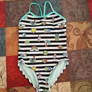 Girl's striped one piece swimsuit